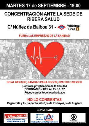 Cartel convocatoria 17 de septiembre ante la sede de Ribera Salud.