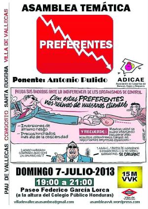 Cartel charla sobre las preferentes en Villa de Vallecas