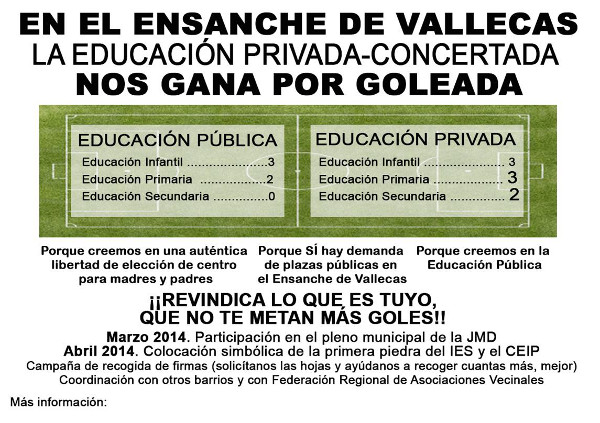 Octavilla campaña por instituto y CEIP J. Echegaray en el PAU de Vallecas