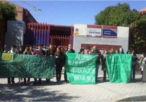 Protesta en el IES Villa de Vallecas, el año pasado. /FOTO: Marea Verde Madrid.