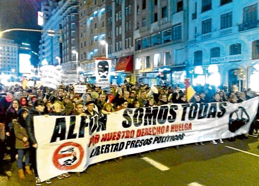 Movilización en Madrid tras conocerse la sentencia. /Plataforma por la Libertad de Alfon