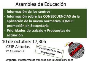 10 de octubre, Asamblea de Educación en Vallecas